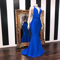 echte probe royal blaue kleider groihandel-Sexy Royal Blue Mermaid Prom Kleider Lange 2019 Real Sample Tiefem V-Ausschnitt Riemen Backless Stretch Satin Graduation Dresses