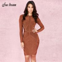 62e5811a11a5 2018 verão novas mulheres dress o pescoço bandage dress sexy bodycon  geométrica dress celebridade festa brown white vestidos vermelhos vestidos  y190426