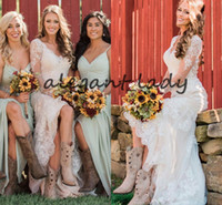 Wholesale champagne detailed wedding dress for sale - Vintage Western Country Wedding Dresses with Long Sleeve V neck Lace Applique Cowgirl Boot Mermaid Outdoor Bridal Wedding Gown