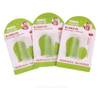 escovas de dentes infantis venda por atacado-O dedo do bebê escova de dentes Crianças Dentes Limpar Massagem suave silicone infantil escova de limpeza de borracha Massager Set Frete grátis