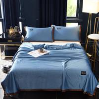 lavado a máquina de seda al por mayor-Funda de almohada de tres piezas de seda Set de verano con aire acondicionado Funda de almohada Set de 3 piezas Hogar Lavado de mantas doble Lavadora