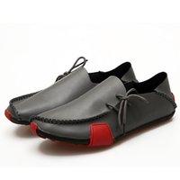 zapatos de guisantes de moda al por mayor-Moda retro hombres cabeza redonda pisos antideslizante luz transpirable con cordones guisantes zapatos hombre zapatillas de deporte para la primavera otoño