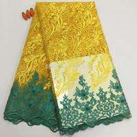 sarı guipure dantel kumaş toptan satış-Inciler Aplike Taş Ile Afrika Dantel Kumaş Yüksek Kalite Boncuklu Fransız Dantel Kumaş Gipür Nijeryalı Dantel Kumaşlar Sarı YDF87