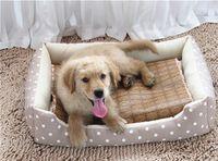 estera de bambú para mascotas al por mayor-Pet Cat Dog Bed Mat Summer Cooling Sleeping Pad Cómodo Straw Bamboo Cushion Hot