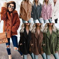 Wholesale m winter jackets resale online - Women Plush Sherpa button Outerwear cardigan Coat fashion Warm Sweater Outdoor Casual Pullover Outwear warm Casual Jacket LJJA2655