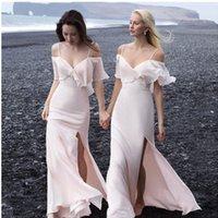 juniors bohem elbiseleri toptan satış-Seksi Yan Bölünmüş Plaj Gelinlik Modelleri Gençler Için Yeni 2019 Bohem Stili Spagetti Sapanlar Onur Hizmetçi Kapalı Omuz Düğün Konuk Elbise