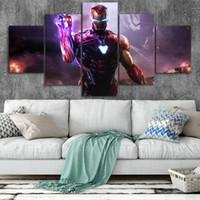 lienzo de pared de sala de estar al por mayor-Iron Man Art Canvas Posters Decoración para el hogar Marco de arte de pared 5 piezas Pinturas para sala de estar HD Prints Marvel Pictures NO.b