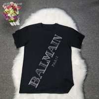 Wholesale button drill for sale - Group buy New BALMAIN Rock Women Designer T Shirt Star Balmain hot drilling short sleeveill print Night club t shirt casual