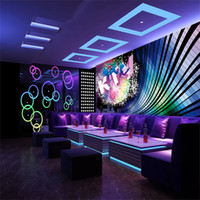 Fashion KTV music wallpaper 3D motion bright and colorful pattern silk  mural wallpaper KTV entertainment venues wall decoration