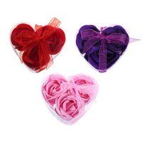 favor da festa da caixa de sabão venda por atacado-Aroma Coração Rose Soap Flores Bath Body Sabão Lembranças Românticas Presentes do Dia Dos Namorados Favor Do Casamento Decoração Do Partido 3 Pçs / caixa
