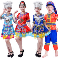 kız çince kostümleri toptan satış-110-160 CM Çocuklar Geleneksel Çin Şarkıcı Dai Dansçı Sahne Kostümleri Şarkıcı Performans Kız Cltohing Tavuskuşu Festivali Kıyafet