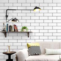 vinyl-ziegel-tapeten großhandel-Schwarz Weiß Ziegel Design Check Textur 3D Wave Tapete Vinyl Qualität Modern Luxury Wall Paper Roll