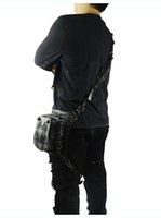 рок-телефон оптовых-Рок мужские сумки для ног Стимпанк готический паук Fanny Pack Ретро черная кожаная сумка на талию Crossbody Messenger Phone Case Держатель