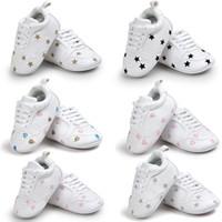 ingrosso camminatore bambino bianco-Bambino ricamo sport Scarpe neonato bianco Love heart star design Mocassini Newborn unisex walker Shoes 5colors 3size