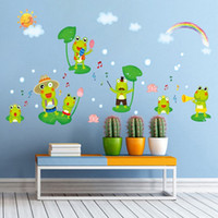 ingrosso arredamento piscina-Zs Sticker Frogs Adesivo da parete per bagno Impermeabile Home Decor Pool Adesivo Wc Murale per Baby Kids Room House Vinyl