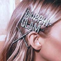 novos acessórios de moda china venda por atacado-New Fashion Crystal Hairpin Brilhante Strass GLAM DRIPPIN Cartas Grampos de Cabelo Acessórios Para o Cabelo para As Mulheres Meninas T215