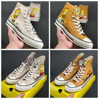 Wholesale x art hot for sale - Group buy Hot Cute Designer Simpson x Convas s Hi Donuts Hand painted Limited Figurines Casual Sneakers Mens Women Skateboard Sport Shoes