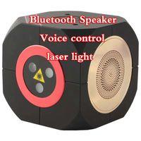 sprachlautsprecher großhandel-2019 neue Mini Bluetooth Lautsprecher Laserlicht Voice-aktivierte Laser Bühnenlicht Outdoor-Laserlicht-Familie zusammen Musik drei Farben