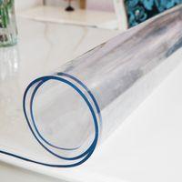 pvc yumuşak cam toptan satış-PVC yumuşak cam su geçirmez termal iletkenlik plastik masa örtüleri kahve paspaslar şeffaf mat PVC levha mat