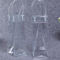 bolsas de botellas de vino de plástico al por mayor-Bolsa de plástico de un solo hielo botella de hielo del refrigerador de vino PVC refrigerador de la cerveza bolsa de gel de hielo bolsa transparente bolsa transparente con mango bebida potable