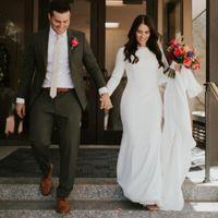 krepp langes hülsenhochzeitskleid großhandel-Einfache Crepe Mermaid Modest Brautkleider mit langen Ärmeln Elegante Country Western Women Modest Brautkleider nach Maß