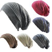chapeaux tricotés surdimensionnés achat en gros de-2018 Nouveaux hommes femmes slouchy hat hiver bonnets tricotés chapeau pour adultes mode casquettes Chaud Chunky Doux Surdimensionné Câble Knit Slouchy casquette Beanie