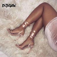zapatos de vestir dropship al por mayor-Sandalias de tacón alto Sandalias de mujer Sandalias de verano Zapatos de plataforma Atractiva con ligas cruzadas para mujer Sandalias de vestir para mujer