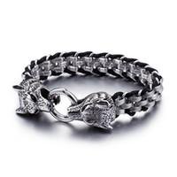 wolfskopf armbänder großhandel-Großhandel 200 * 13mm Silber Wolf Kopf Armband Für Männer Männlichen Jungen 316L Edelstahl + Leder Seil Armband Männer