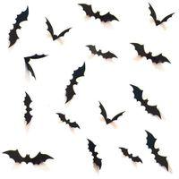 ingrosso autoadesivo cinese della parete di cerimonia nuziale-10 set all'ingrosso fai da te forniture per feste di halloween pipistrelli spaventosi decorativi 3d adesivo da parete adesivo, decorazione della finestra della parete della vigilia di halloween, nero