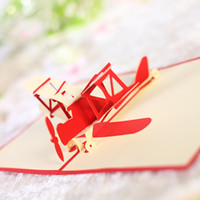 Wholesale christmas cards resale online - 3D Pop Up Greeting Cards Birthday Wedding Gift Holiday Anniversary Postcard plane design greeting card KKA7052