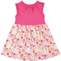 Wholesale drop ship kids clothes for sale - Group buy Drop Shipping New Summer Girls Dress Dark Pink and Floral Cotton Sleeveless Kids Dress for Girls Fashion Children Clothes