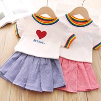Wholesale rainbow color baby clothes resale online - Letter Girls Dresses Rainbow Striped Short Sleeve A line Skirts Kids Casual Clothes Girls Navy Style Baby Clothes Pleated Dress SEA