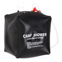 açık pvc güneş şovları toptan satış-40L Güneş Isıtma Açık Duş Çantası Yürüyüş Kamp Kampı Duş Yıkama Su Torbası Açık Araçlar Aksesuarları