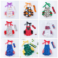 Wholesale 4th of july romper resale online - Baby Girls Clothing Set Ins summer Infant rompers th of july independence day Jumpsuits Toddler American flag lace Romper Headbands EZYQ598