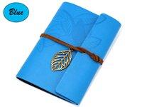 ingrosso mini notebook blu-Diario in pelle con copertina a fogli mobili in PU (blu)