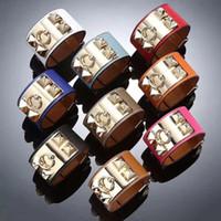 браслет из нержавеющей стали оптовых-Высококачественный модный широкий браслет Мужской и женский панк-ветер Браслет с крестом из нержавеющей стали с восемью ногтями Кожаный браслет