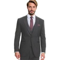 ingrosso miglior vestito di lana-Custom uomo grigio scuro adatta abiti da uomo in lana smoking smoking su misura best uomo abiti da uomo Suit (giacca + gilet + pantaloni)