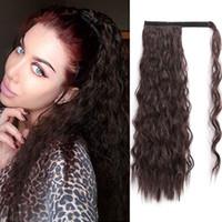Wholesale ponytails online - BEAUTY Wrap Around Ponytail Extension Corn Wave Kinky Straight Ponytail Extension Clip in Hair Extensions Magic Paste Yaki Ponytail g