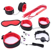 Wholesale sexy games for pc for sale - Group buy 7 Bondage Set Cotton Red BDSM Restraint Sex Hand s for Couple Hand s Sexy Mark Whip Collar for Adult Slave Game Y191203