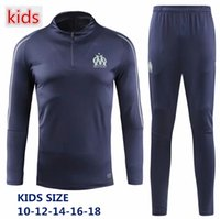 Wholesale kids train tracks for sale - New Olympic Marseille KIDS Tracksuit Soccer Jogging Football Tops Coat Pants Sports Training child OM Football Track Suit