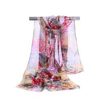 dama peonía al por mayor-Mujeres creativas de gasa de impresión bufanda de moda de lujo de flores de peonía patrón de originalidad bufandas Retro Lady Beach Shawls TTA1225