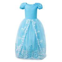 mavi tül çiçek kız elbisesi toptan satış-2019 Bebek Kız Dantel Ve Tül Çiçek Kız Elbise Düğün İçin Mavi Balo Prenses Kız Pageant Törenlerinde Çocuk Communion