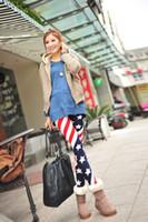 печать лосины флага оптовых-Американский флаг женские леггинсы Полосы Звезда Печатные Тонкие Тонкие Леггинсы Брюки один размер женская мода Колготки