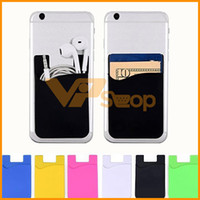 Wholesale 3m cell phone adhesive online – Phone Card Holder Silicone Cell Phone Wallet Case Credit ID Card Pocket Holder Stick On M Adhesive With OPP bag