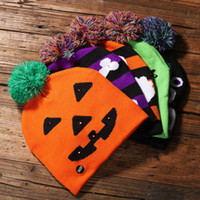 Wholesale knitting beanies for babies resale online - Led Halloween Knitted Hats Kids Baby Moms Winter Warm Beanies Crochet Caps For Pumpkin Ghost Skull Festival party decor gift props FFA2658
