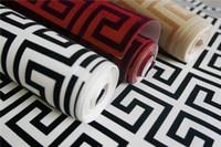 papel de parede flocado para o quarto venda por atacado-53 * 10.00M preto branco grego desenhos papel de parede para quarto moderno sala de estar rebanho de veludo papel de parede