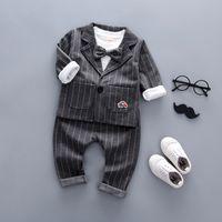 ingrosso ragazzi falsi-Buona qualità 3 PZ Toddler Neonati Vestiti Outfit Boy Bambini Gentleman Suit Abiti Set Grid False 3 pz Set Boy Style Per Bambini