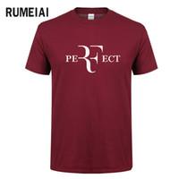 col parfait achat en gros de-Mode d'été pour hommes RF T-shirts design parfaits Roger Federer T-shirts manches courtes à col en V Streetwear