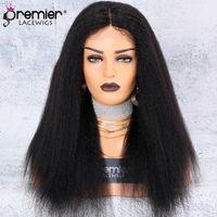 kinky gerade perücke teil großhandel-PREMIER Spitzenperücke Seide Basis Mittelteil Verworrene Gerade 130% Dichte 100 Brasilianische Remy Haarperücken