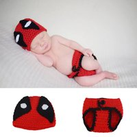 Wholesale crochet diaper hat set resale online - Crochet Baby Boys Photo Prop Knitted Newborn Hat Diaper Set for Infant Cartoon Costume Photography Outfits
